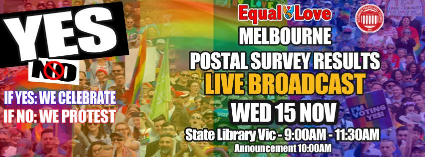Equal-Love: Marriage Survey LIVE Results Announcement [Melbourne]