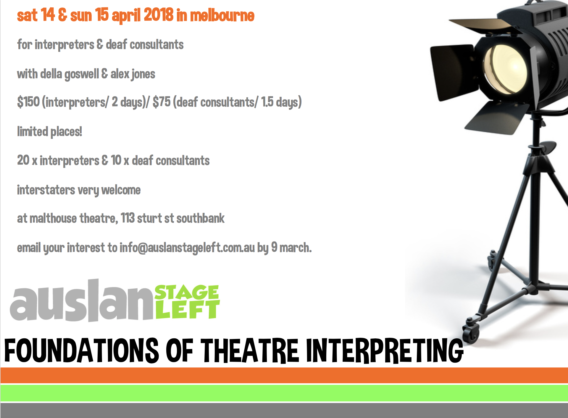 Foundations of Theatre Interpreting - WORKSHOP [Melbourne]